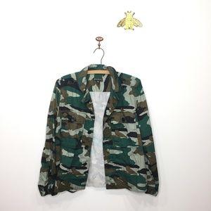 J. Crew Mercantile camo jacket shirt cropped M 161
